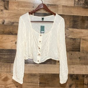Wild Fable NWT LS XXL Ivory Crop Top